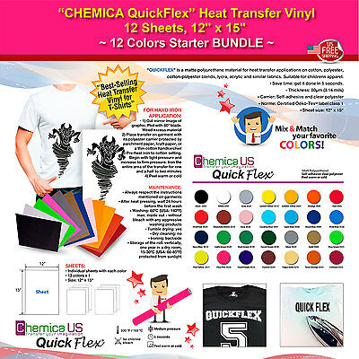 "CHEMICA QUICKFLEX HEAT TRANSFER VINYL,12 SHEETS,12""x15"",12 COLORS STARTER BUNDLE"