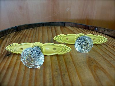 2 YELLOW ANTIQUE-STYLE FRENCH PULL CLEAR KNOB DRAWER CABINET HANDLE vintage chic
