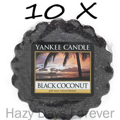 10 YANKEE CANDLE WAX TARTS MELTS Black Coconut Tartlets Fresh Scented