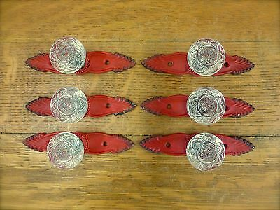 6 RED ANTIQUE-STYLE FRENCH PULLS CLEAR KNOBS DRAWER CABINET HANDLE vintage chic