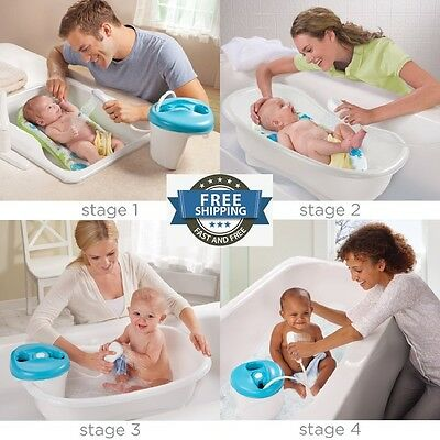 4 Stage Grow Newborn Toddle Shower Center Baby Bath Tub Covenient Boy Girl Gift