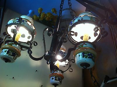 4' VTG Wrought Iron Spanish Revival Mediterranean Rustic Cabin Light chandelier