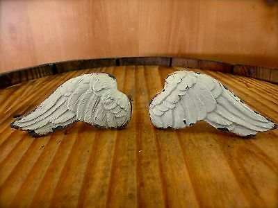 1 PAIR WHITE ANGEL WINGS DRAWER CABINET PULLS KNOB HANDLE vintage shabby chic