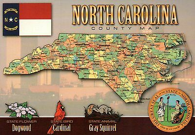 Greetings from North Carolina, Raleigh, Charlotte, etc., NC - State Map Postcard