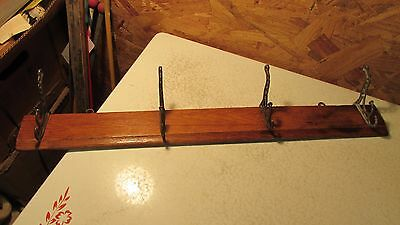Antique Oak Hat & Coat Rack Iron Hooks-  24""