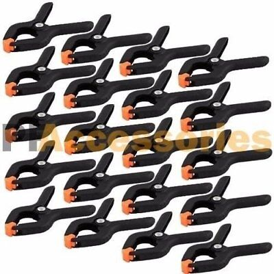 """24 Pcs 2.7"""" inch Mini Plastic Spring Clamps Tips Tool Clip 1"""" Jaw Opening"""