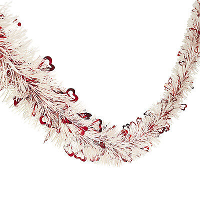 24 ft. Valentines Day White Tinsel Garland With Shimmering Red Foil Hearts