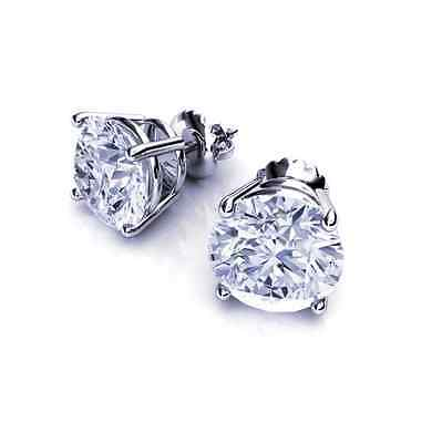 6 Ct Round Cut Solitaire Stud Earrings Solid 14K White Gold ScrewBack Basket