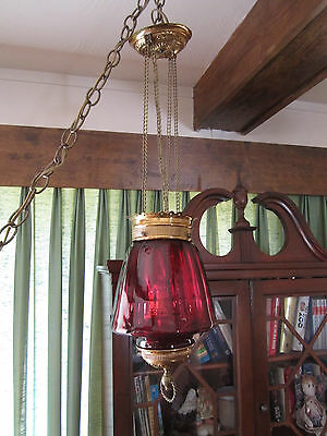 Antique Late 1800's Brass w/ Cranberry Glass Hanging Oil Lamp Chandelier