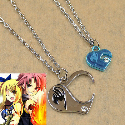 1X Anime Fairy Tail Heart Combined Double Necklace Chain Lovers Couple Gift New