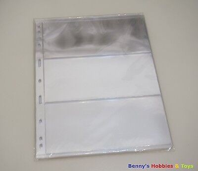 10 Banknotes Paper Money Stock Pages (3 Rows) Sheets  - Transparent Single Sided