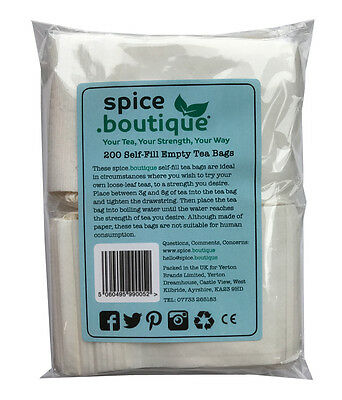 200 spice.boutique SELF FILL Tea Bags, empty, drawstring ideal for all loose tea
