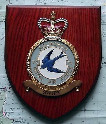 Old RAF Royal Air Force 72 Squadron / Station Crest Shield Plaque