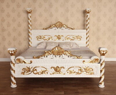 Antique White and Gold Venetian 4 Poster Bed 5' King Size Solid Mahogany B017W&G