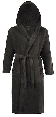 Hooded 100% Cotton Terry Towelling Shawl Collar Slate Bathrobe Dressing Gown