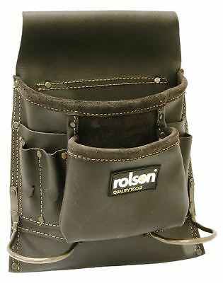 Rolson Oil Tan Leather Tool Belt Single Pouch 8 Pocket Double Hammer Loop Holder