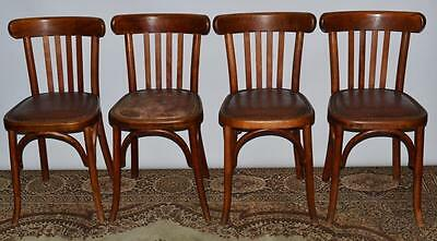 Set of 4 French Art Deco Fischel Bent Wood Chairs - FREE Delivery [PL1982]