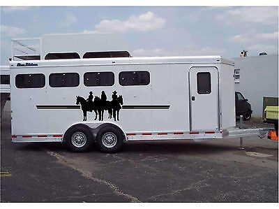 Horses & Riders Border Horse Trailer RV Decal Stickers 23x76 Set of 2 Stickers