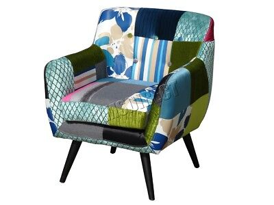 FoxHunter Patchwork Chair Fabric Vintage Armchair Seat Office Furniture PC029