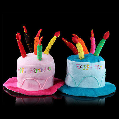 ''Happy Birthday'' Funny Costume Happy Birthday Cake Candle Party Flannel Hat