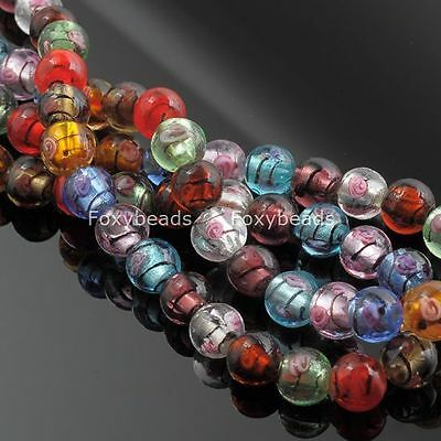 Pretty Handmade Flower Round Ball Foil Lampwork Glass Loose Beads Charms Finding