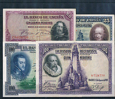 Spain -Banknote Lot 4 Pcs Extrmely  1925/1928 Civil Wars Xf/xf+