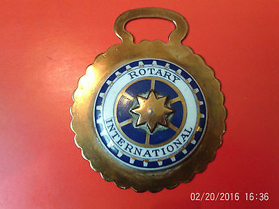 "V RARE Vintage Horse Brass: ""Rotary International"" Ceramic Centre Scalloped Edge"