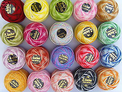 20 ANCHOR Vareigated Pearl Cotton Balls Size 8, 20 Great colours Wholesale