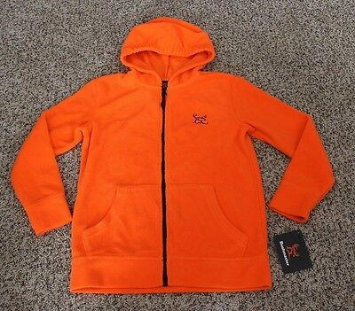 Bushmaster Blaze Orange Hunting Fleece Hoodie Zip-Up Sweatshirt Youth S M L XL