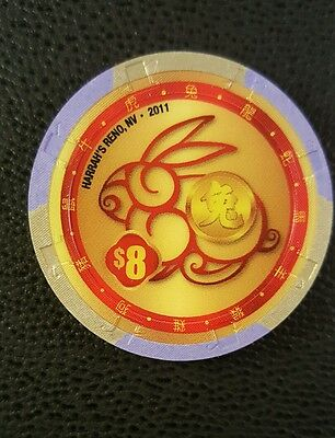 harrahs reno chinese new year of the rabbit $8 casino chip unc