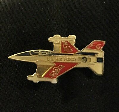 "Vintage U.S. Air Force F16 Falcon Fighter Jet Lapel Pin Hat Pin 1 1/4"" x 11/16"""