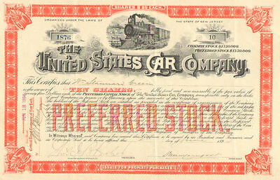 United States Car Company   1894 New Jersey preferred stock certificate