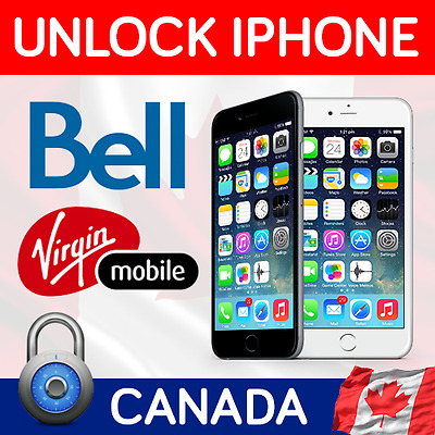 Factory Unlock Iphone 5S 5C 4 5 6 6+ 6S 6S+ Canada Bell / Virgin Fast Service