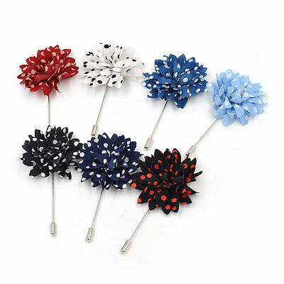 Fashion Lapel Flower Daisy Handmade Boutonniere Stick Brooch Pin Men's Accessory