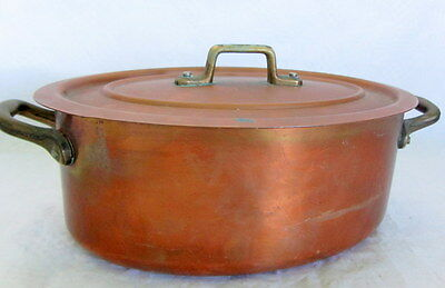 "E,DEHILLERIN 1.5mm STAINLESS 8"" copper stew pot pan cocotte casserole french"