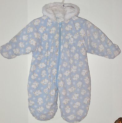 SESAME STREET Size 3-6 Months Blue Footed Hooded Long Sleeve Snowsuit