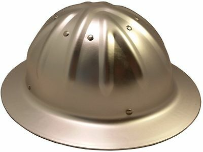 NEW Aluminum Full Brim Hard hat, Silver Metal Full Brim Hardhat with ratchet