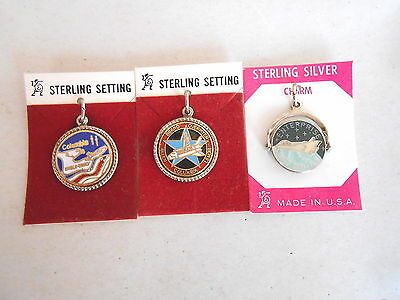 Lot of 3 Different Vintage Sterling Enamel NASA Space Shuttle Charms