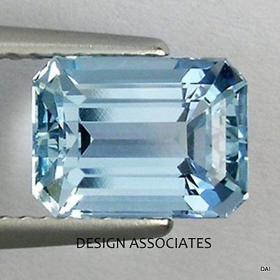 Aquamarine 7X5 Mm Emerald Cut Outstanding Blue Color All Natural