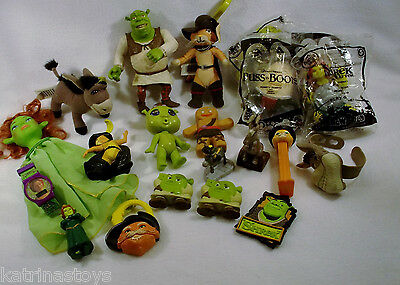 Large Lot of USED Dreamworks Shrek Forever After puss gingy toy figures E