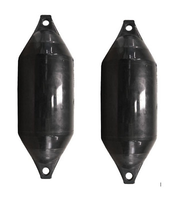 Boat Fenders 2 x CASTRO INFLATABLE HD FENDERS - F SERIES - BLACK 220MM x 620MM