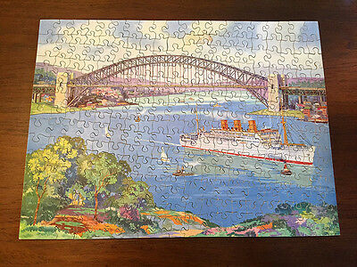 Vintage Victory wooden jigsaw puzzle P&O liner STRATHAIRD  Sydney Harbour Bridge
