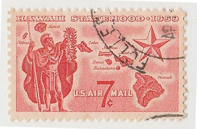 (UST-148) 1959 USA 7c red Hawaii Map & star airmail (C)