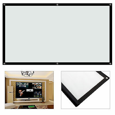 Portable 100'' inch Fabric Matte White Projector Projection Screen Home Theater