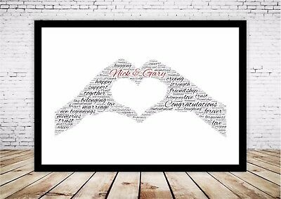 Personalised Word Art Print Frame Love Heart hands Marriage Engagement Gift