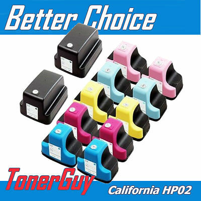 12PK New BK & Full Color High-Yield Ink Cart For HP 02 With Chip PhotoSmart C618