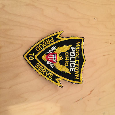 middletown ohio police  vintage patch,60's new old stock