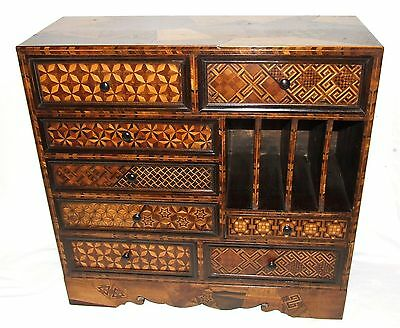 Antique Japanese Parquetry Specimen Woods Table Stationary Cabinet MEIJI PERIOD