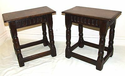 PAIR Antique Jacobean Style Oak Joint Stools / Tables / Lamp Stands circa 1900
