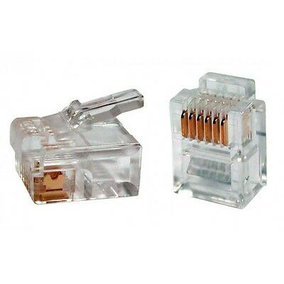 Lot 1-100 RJ11 Connecteur telephonique 6pins 6P6C generique 6/6 Male Transparent